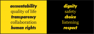 Graphic reading Accountability, Quality of Life, Transparency, Collaboration, human rights, dignity, safety, choice, listening, respect.
