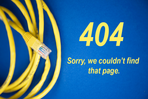 disconnected ethernet cable. Reads: 404 sorry page not found.