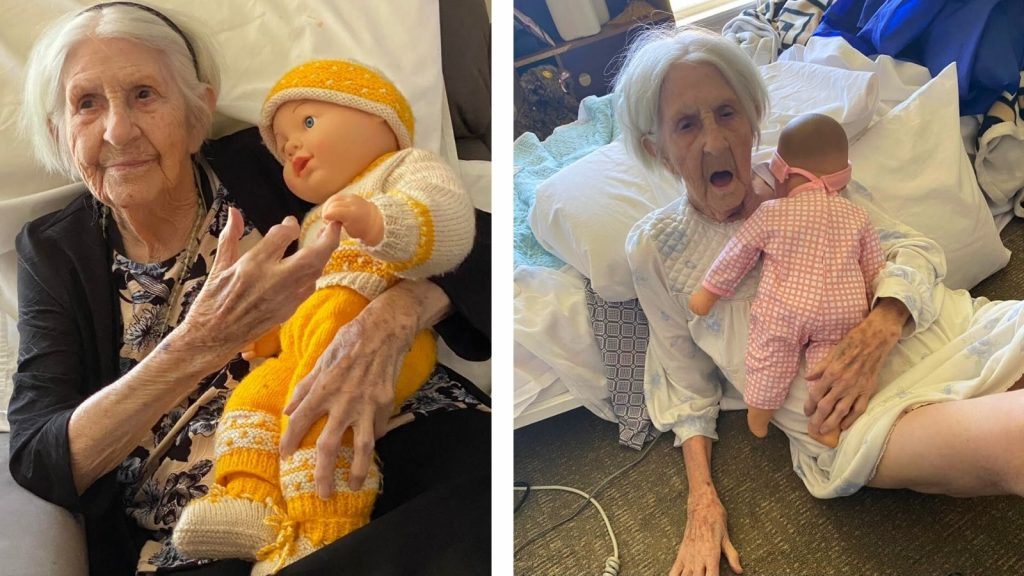 Content warning: distressing image. Two photos of an older woman holding a doll. In one image the older woman is healthy sitting on a chair. The second image shows the older woman in pain and distress on the floor. She had a sepsis infection. The photos are taken 3 weeks apart